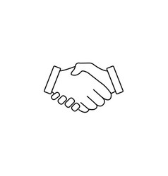 business handshake line icon deal agreement vector image