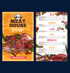Butchery products meat house menu vector