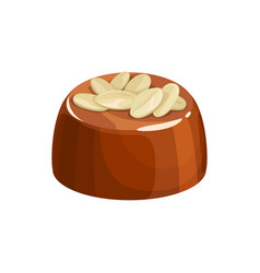 candy with hazelnut topping isolated sweet food vector image