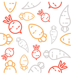 Carrot radish and beetroot seamless pattern vector