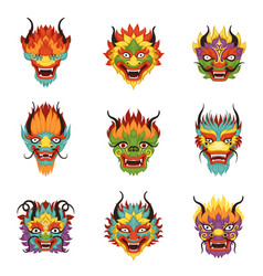 Chinese dragon heads set chinese new year symbol vector