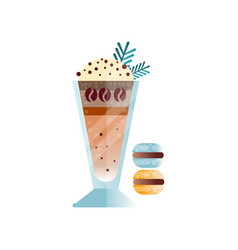 coffee with whipping cream and chocolate shavings vector image