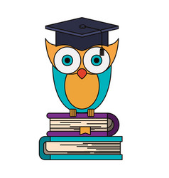 Colorful image of owl knowledge with cap vector