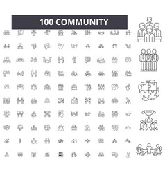 community editable line icons 100 set vector image