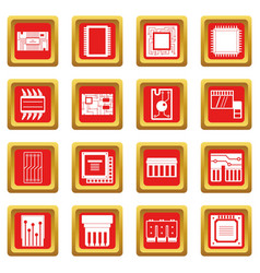 Computer chips icons set red vector