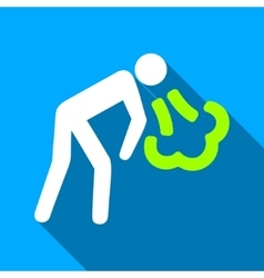 Cough Person Flat Long Shadow Square Icon vector