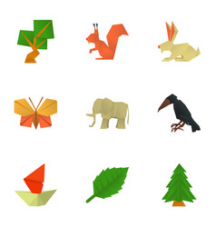 Create origami icons set cartoon style vector
