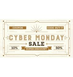 Cyber Monday Sale Retro Background vector image