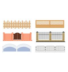 Decorative fences set wooden wrought iron brick vector