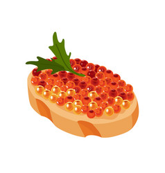 delicious caviar on bread seafood product of red vector image