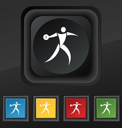 Discus thrower icon symbol Set of five colorful vector