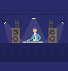 dj in headphones mixing music playing music on vector image