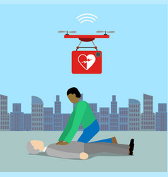 drone with defibrillator 5g technology vector image
