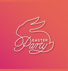 easter party linear lettering vector image