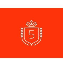 Elegant number 5 logotype Premium numeral crest vector