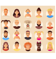 Family avatars icons set in flat style vector