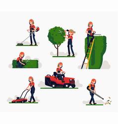 Female gardener at work vector