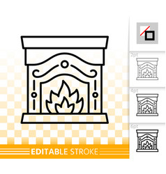 Fireplace simple black line burn fire icon vector