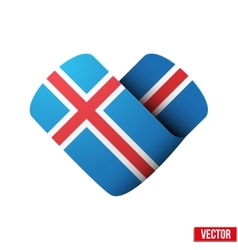 Flag icon in the form of heart I love Iceland vector