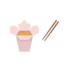 Flat asian udon noodles wok with sticks vector