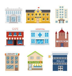 flat design house buildings administrative vector image