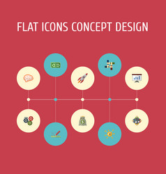 flat icons cash financing support and other vector image