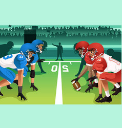 Football players in a match vector