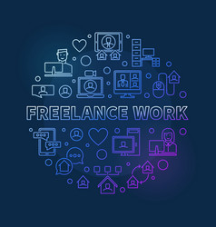 Freelance work round colored linear vector