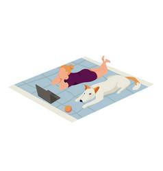 girl and dog icon vector image