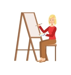 Girl Painting On Canvas Creative Person vector image