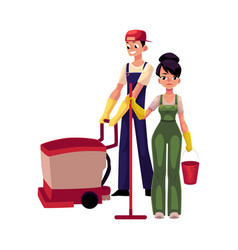 girl with mop and bucket man using floor cleaning vector image