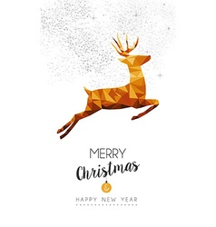 Gold Christmas and new year deer low poly art vector