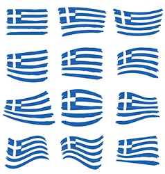 Greece flag set art on white background vector