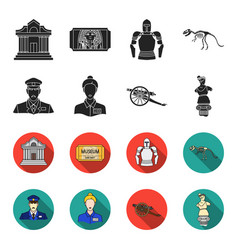 Guard guide statue gun museum set collection vector