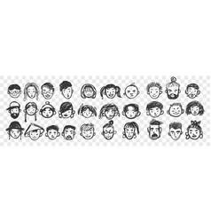 Hand drawn human faces doodle set vector