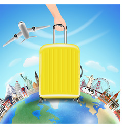 hand pick suitcase with world travel landmark vector image