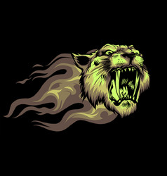head jaguar with flame tattoo vector image