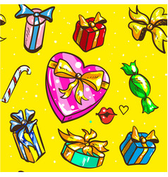 holidays gift boxes seamless pattern on yellow vector image vector image