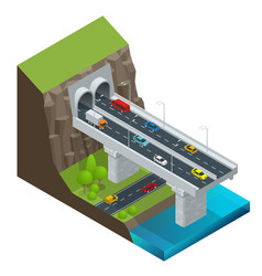 Isometric modern road tunnel in the mountain vector