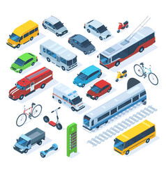 isometric public city transport scooter bus vector image