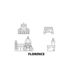 Italy florence city line travel skyline set vector