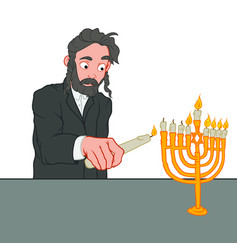 Jewish man with full beard lights the candles on vector