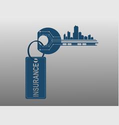 key symbolizes the alarm system houses vector image