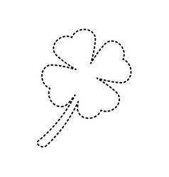 Leaf clover sign black dashed icon on vector