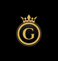 letter g royal crown luxury logo design vector image