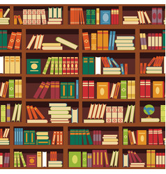 Library book shelf seamless pattern of vector