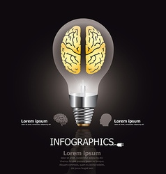 Light Bulb Brain Design Template vector