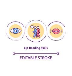 Lip-reading skills concept icon vector