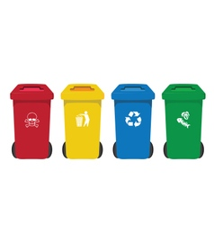 many color wheelie bins set with waste icon vector image vector image