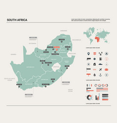 Map south africa rsa country with division vector
